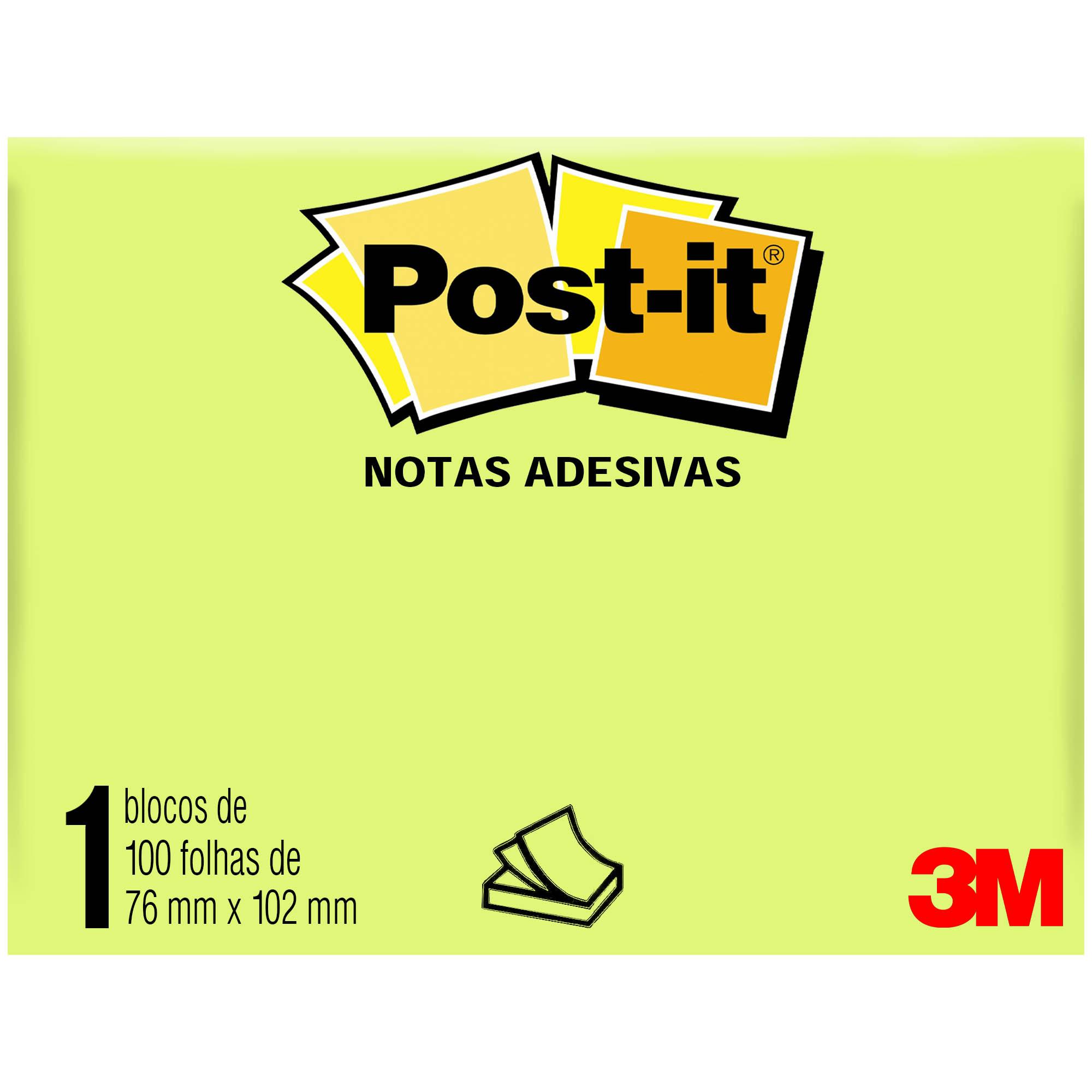 Bloco Autoadesivo Post-It 657 GD 100f 76MMX102MM HT Cor Amarelo HB004088132 - 3M