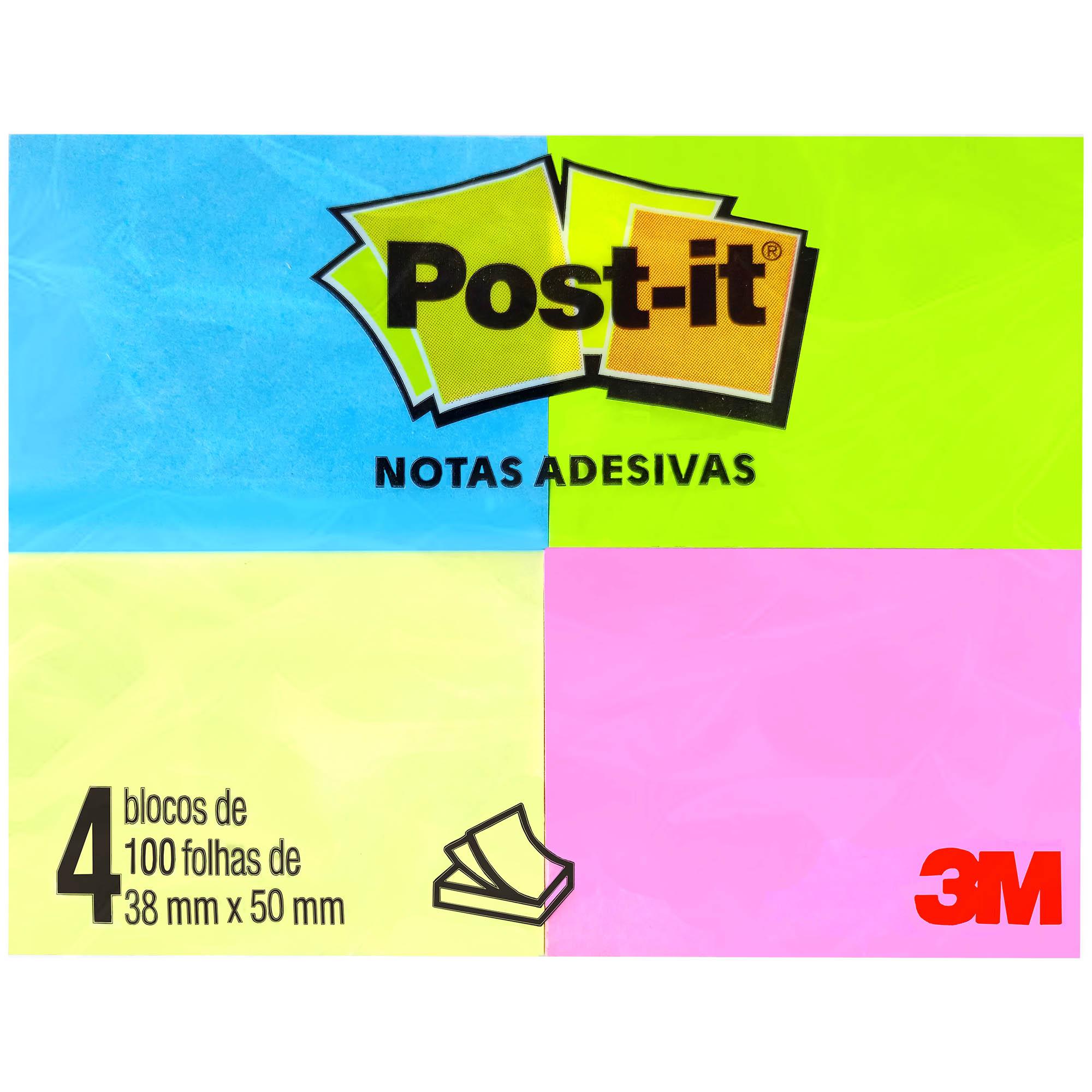 Bloco Autoadesivo Recado Post-it 653 Neon 38X50 mm C/100fls. Pct. C/04 HB004088348 - 3M
