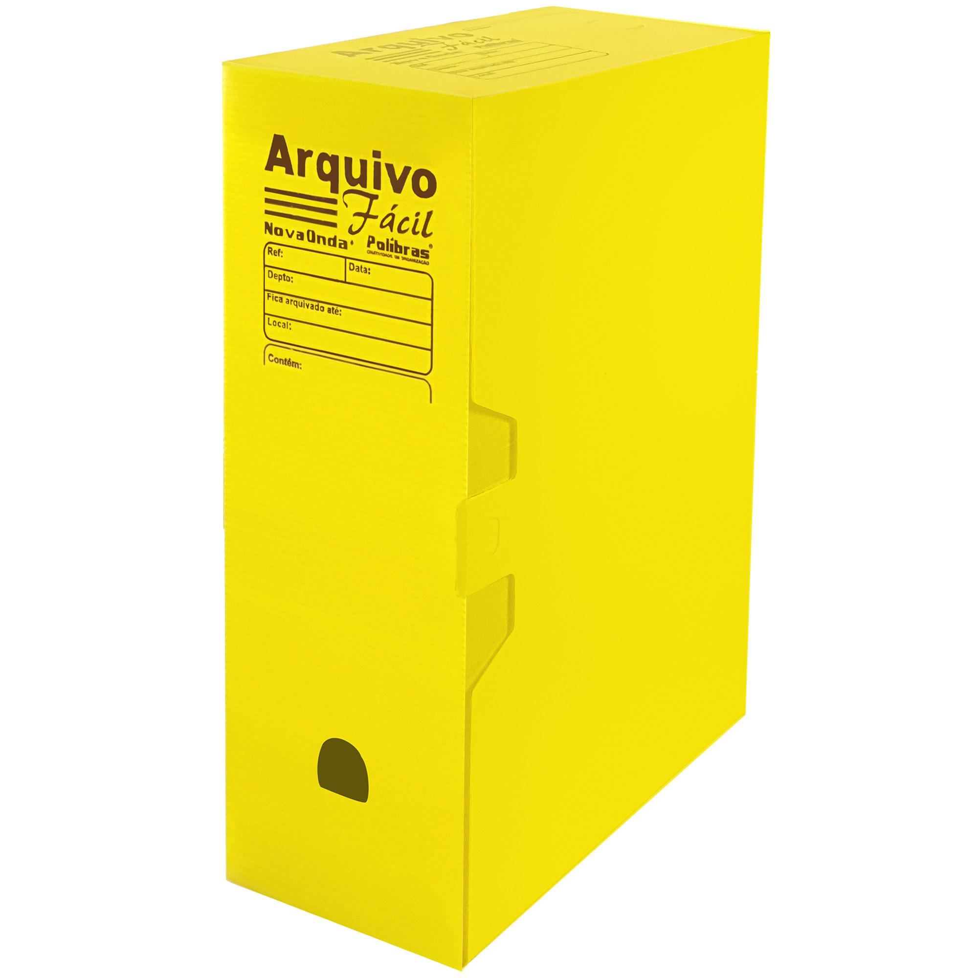 Caixa Arquivo Morto Facil (250x130x350) Cor Amarelo - Polibras