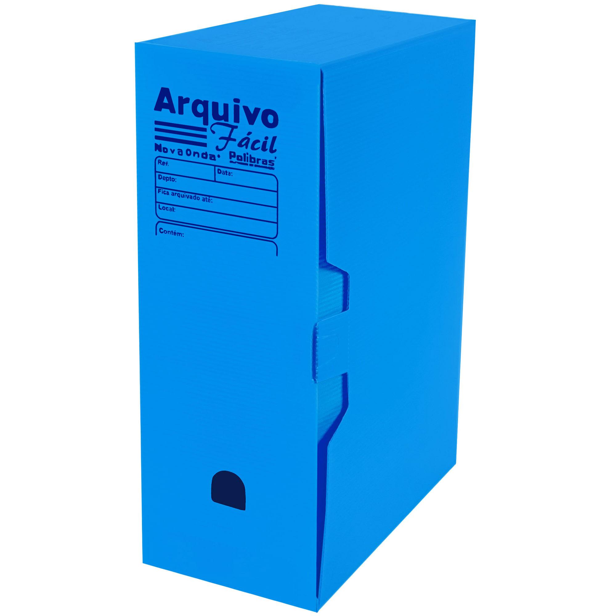Caixa Arquivo Morto Facil (250x130x350) Cor Azul - Polibras
