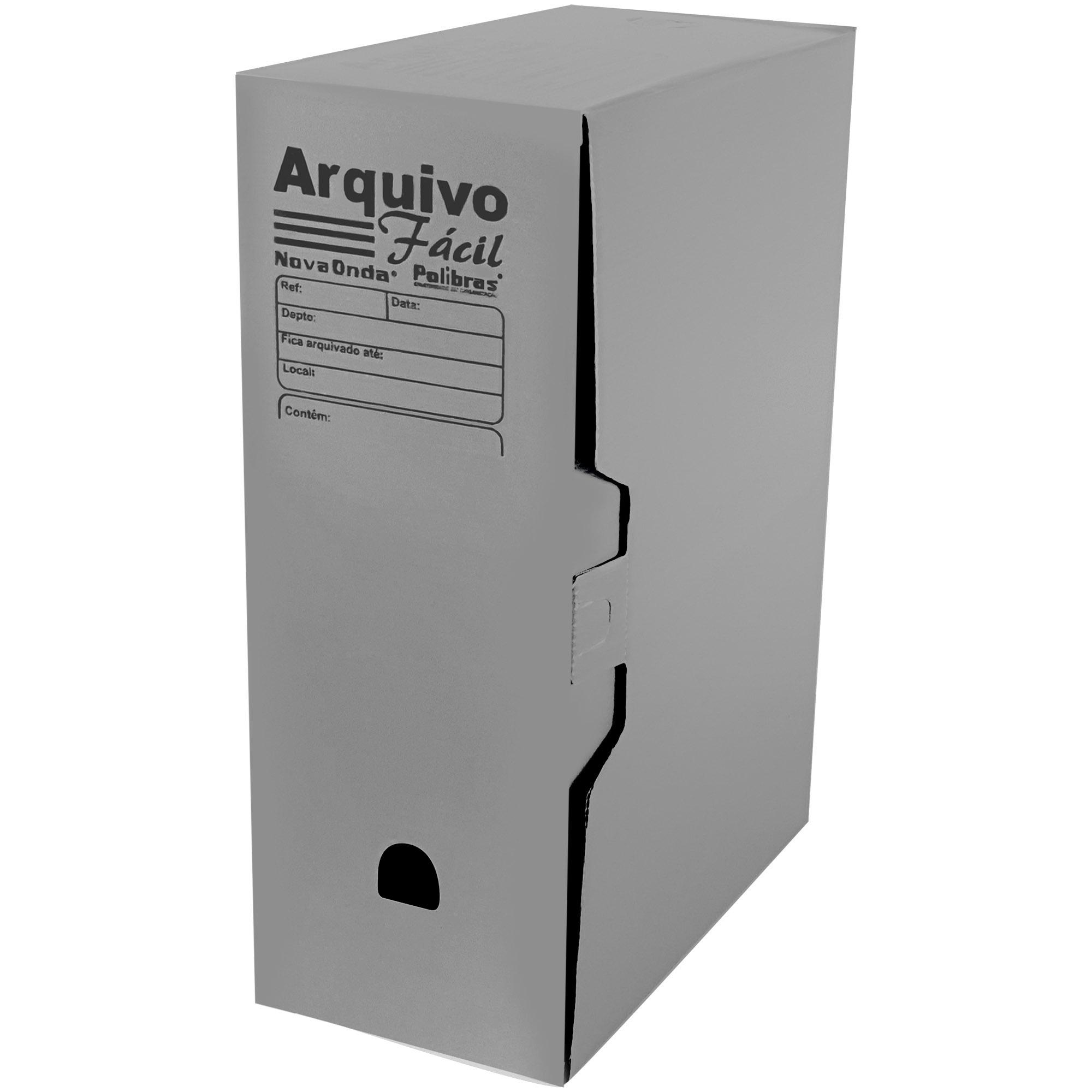 Caixa Arquivo Morto Facil (250x130x350) Cor Cinza - Polibras