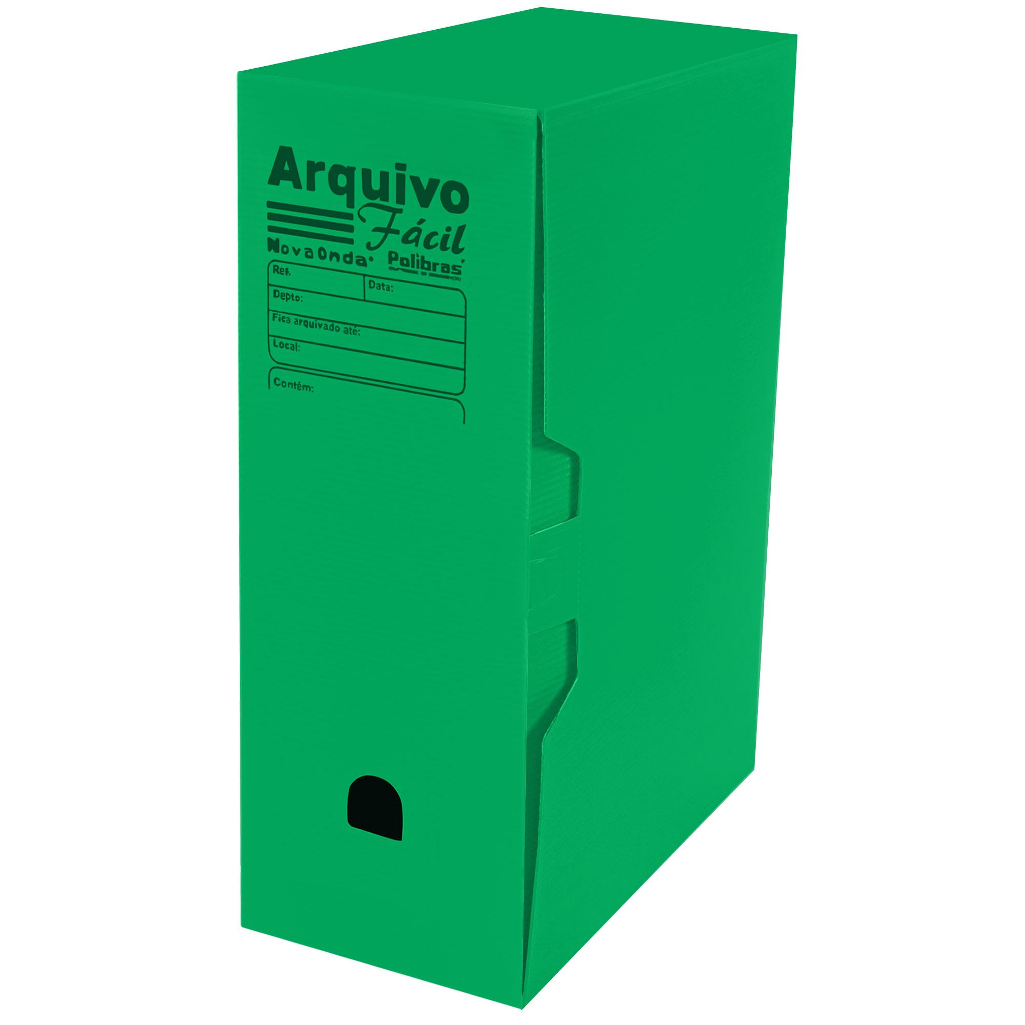 Caixa Arquivo Morto Facil (250x130x350) Cor Verde - Polibras
