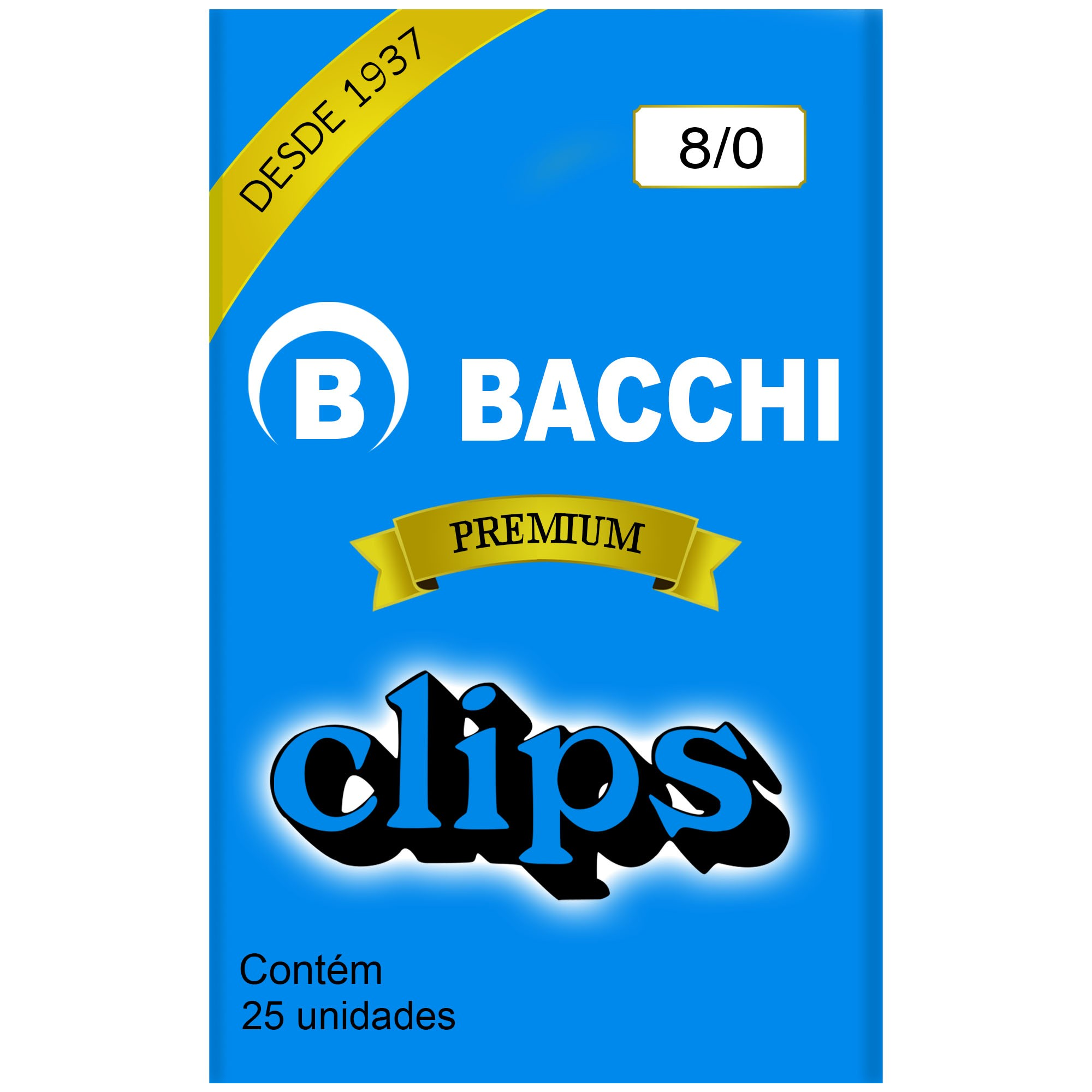 Clips Galvanizado N. 8/0 com 25 UN - Bacchi