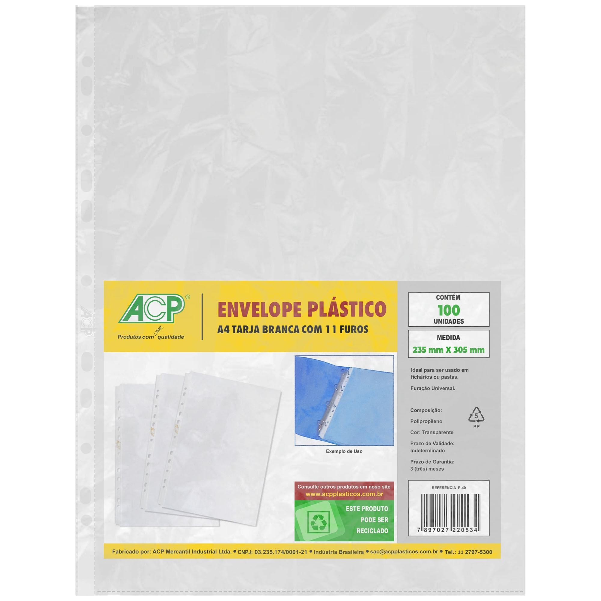 Envelope Saco Plastico tamanho A4 11 Furos 0,8mm pct c/ 100 - ACP