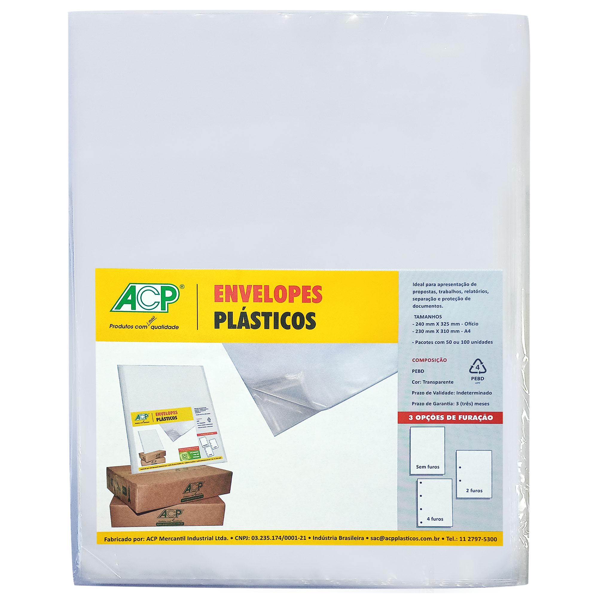 Envelope Saco Plastico tamanho A4 2 furos 0,12mm pct c/ 100 un - Acp