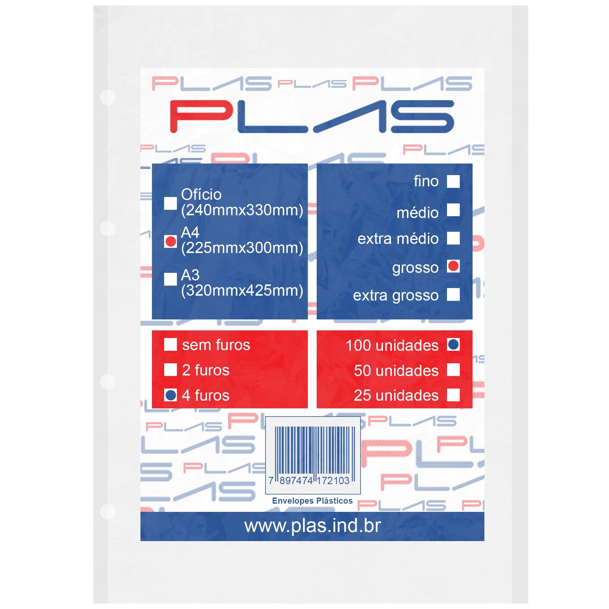 Envelope Saco Plastico tamanho A4 4 furos Grosso pct c/ 100 un - Iplas