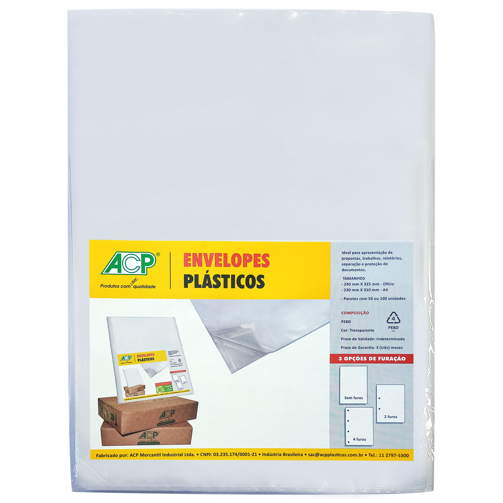 Envelope Saco Plastico tamanho Oficio 2 furos 0,12mm pct c/ 100 un - Acp