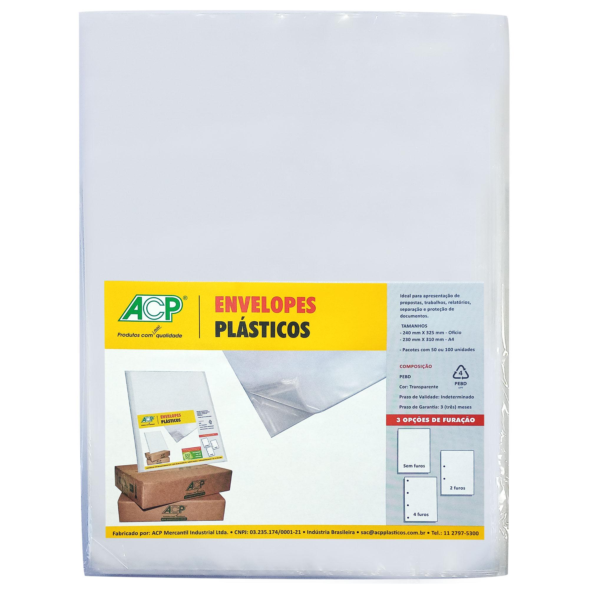 Envelope Saco Plastico tamanho Oficio 4 furos 0,12mm pct c/ 100 un - Acp