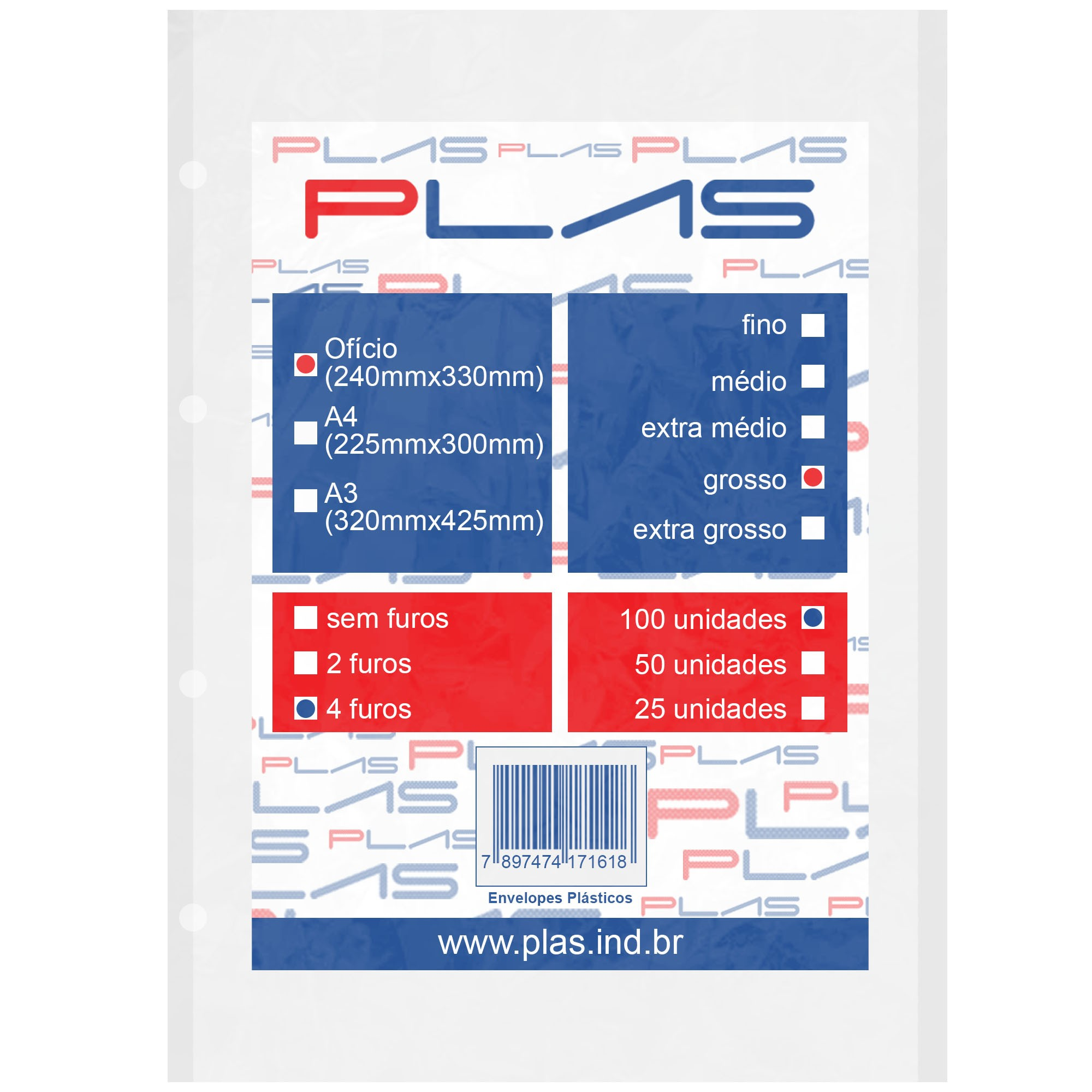 Envelope Saco Plastico tamanho Oficio 4 furos Grosso pct c/ 100 un - Iplas