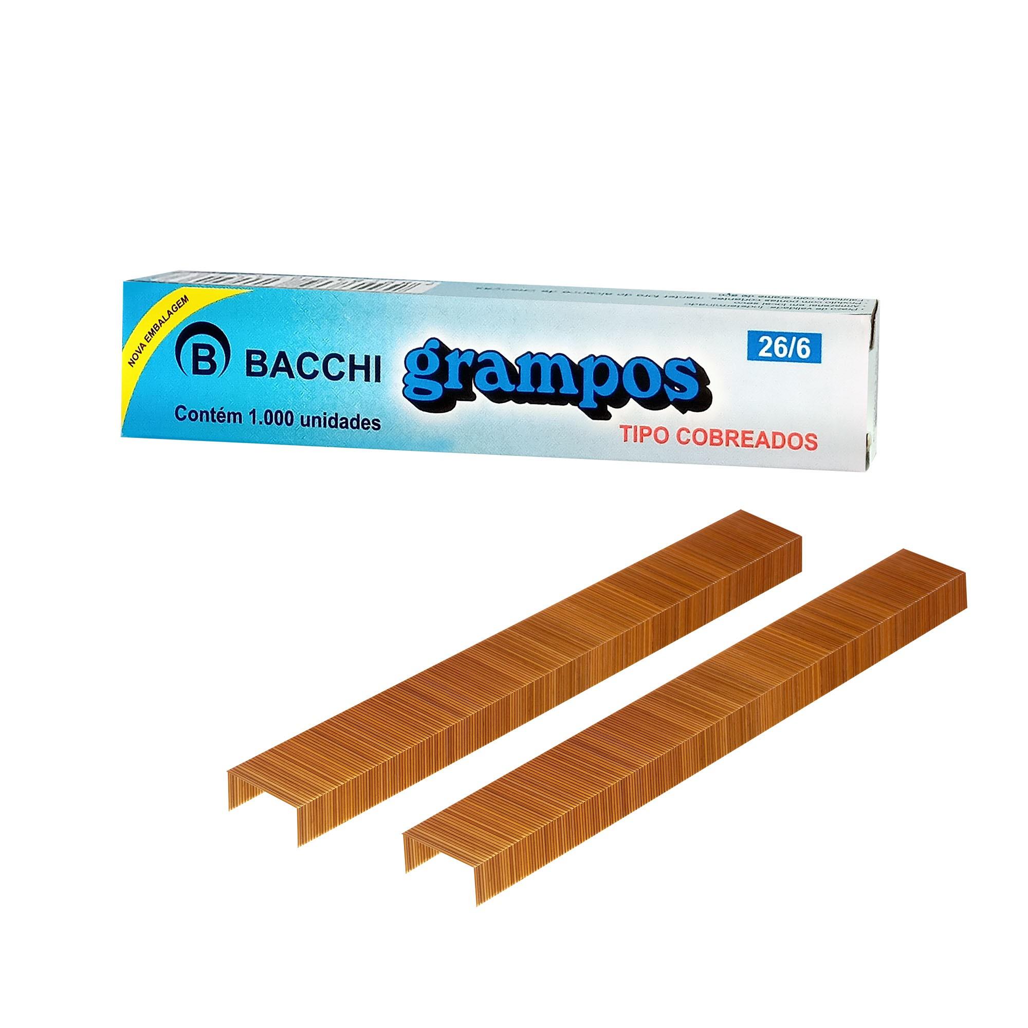 Grampo para Grampeador 26/6 Cobreado 1000 Grampos 21526 - Bacchi