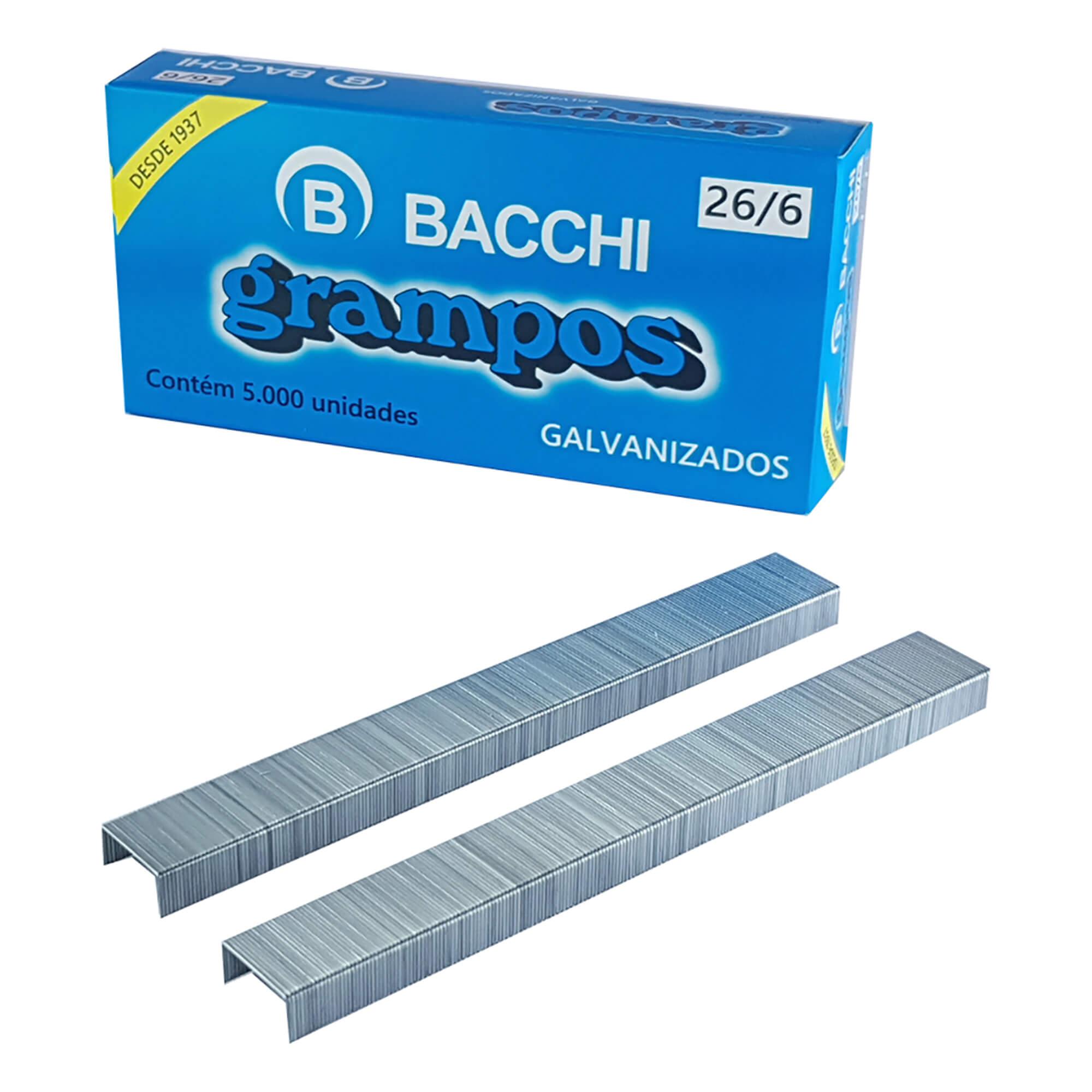 Grampo para Grampeador 26/6 Galvanizado C/5000 UN - Bacchi