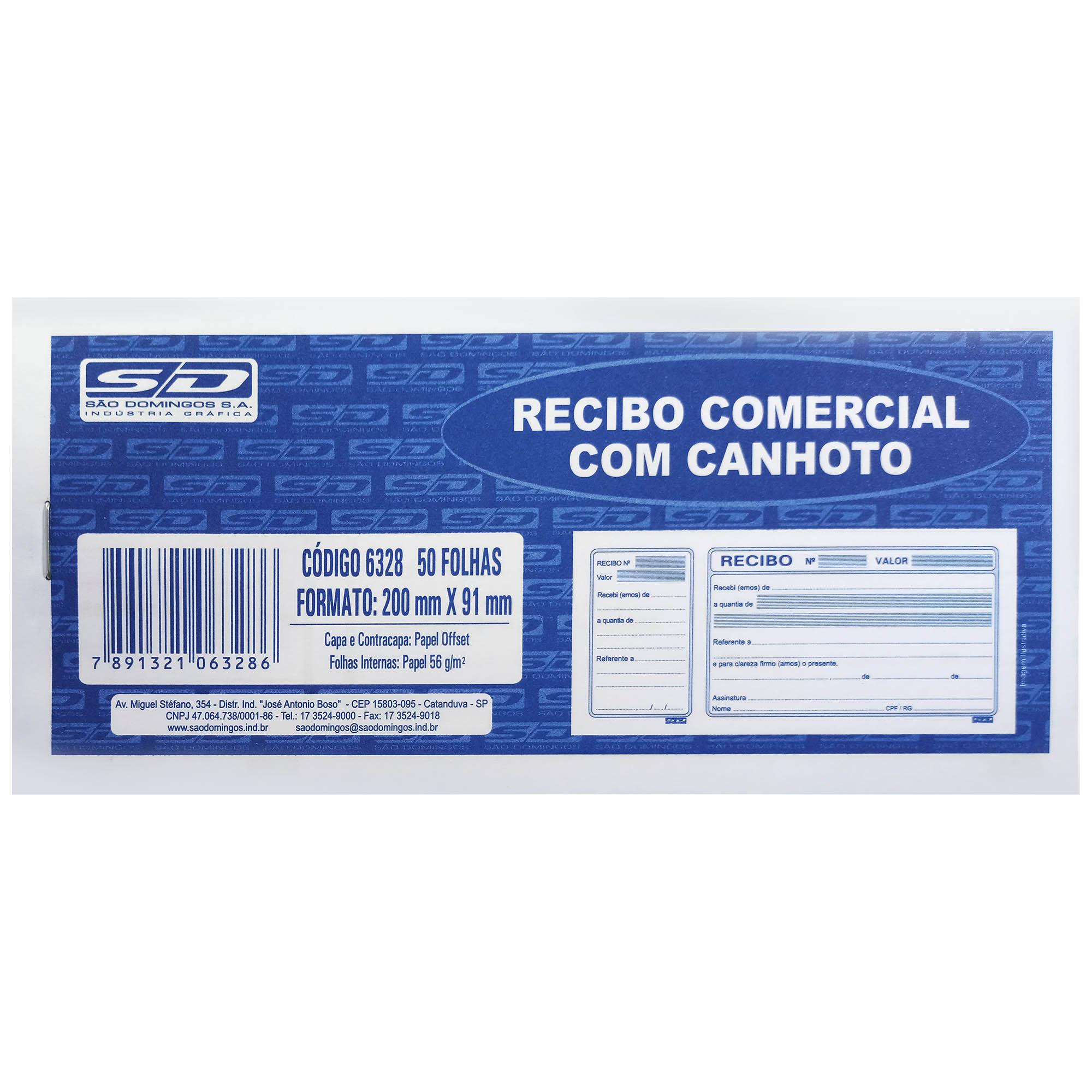 Impresso Recibo Comercial Com Canhoto 50f 6328-9 - Sao Domingos