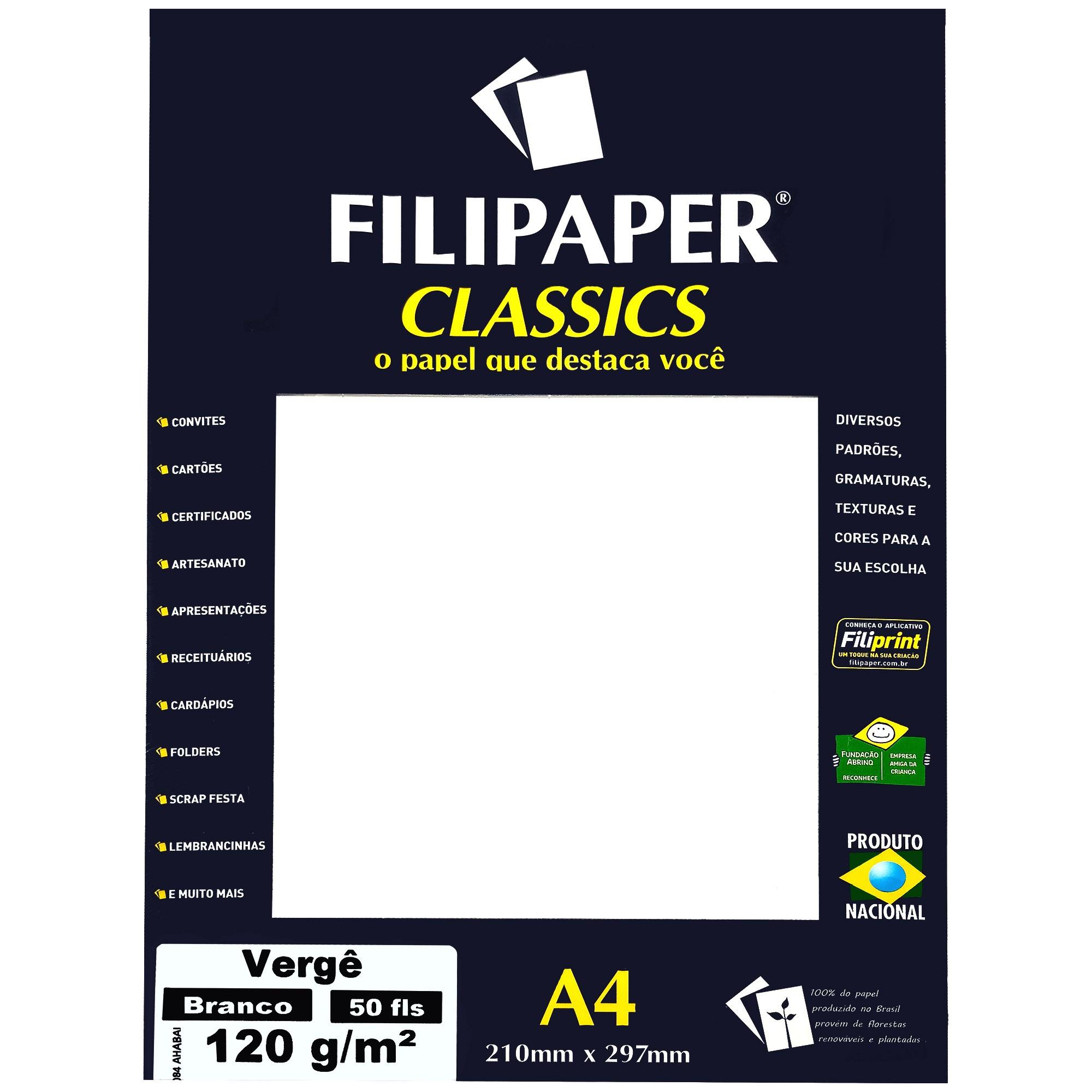 Papel A4 Verge Cor Branco 120G. 1361 - Filiperson