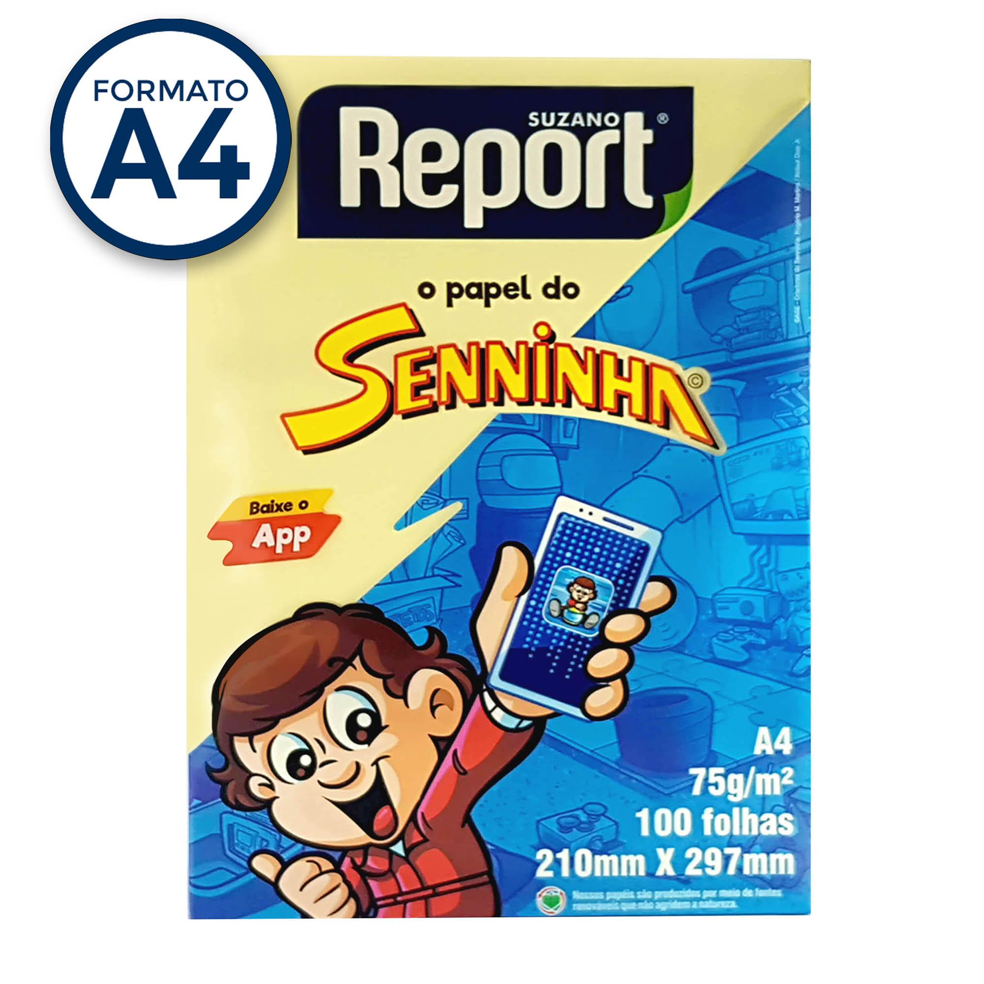 Papel Sulfite A4 Amarelo 75g Report Senninha  PT 100 fls - Suzano