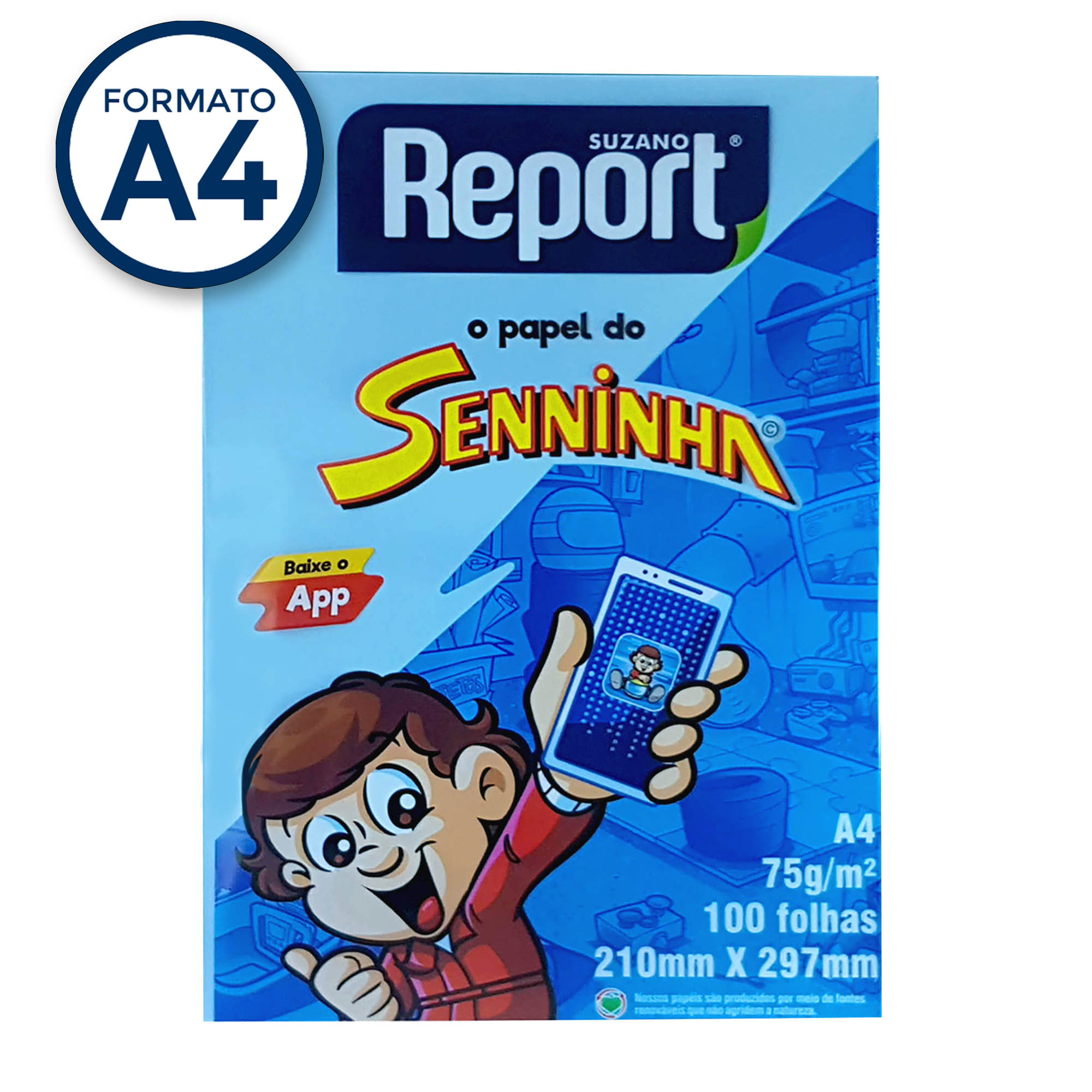 Papel Sulfite A4 Azul 75g Report Senninha  PT 100 fls - Suzano