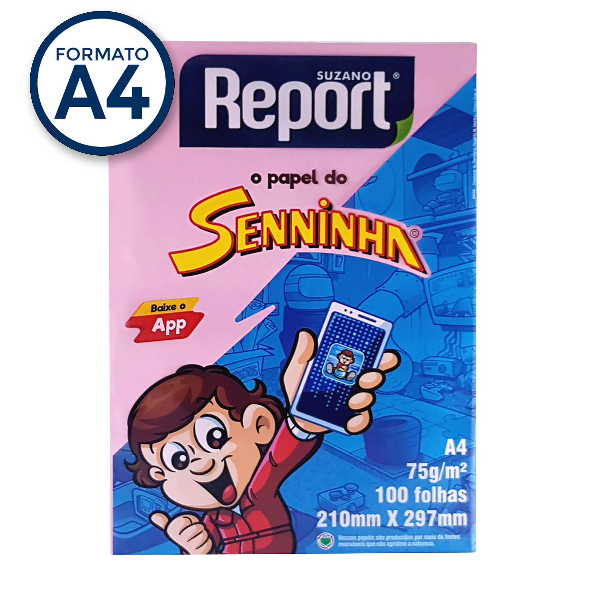 Papel Sulfite A4 Rosa 75g Report Senninha  PT 100 fls - Suzano