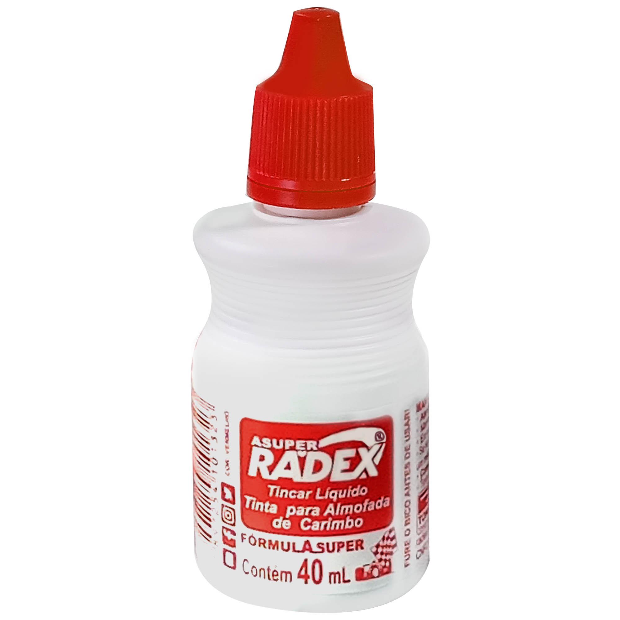 Tinta para Carimbo 40ml Cor Vermelha - Radex