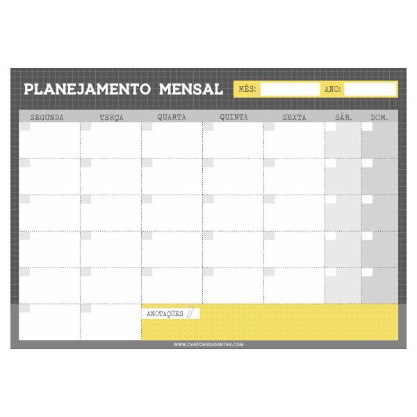 Bloco Planner Mensal Cartões Gigantes