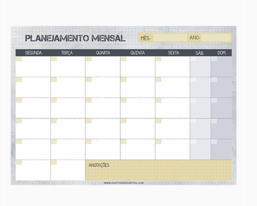 Bloco Planner Mensal Cinza