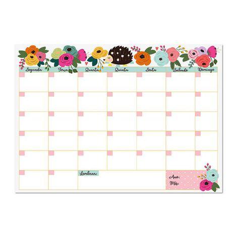 Bloco Planner Mensal Floral