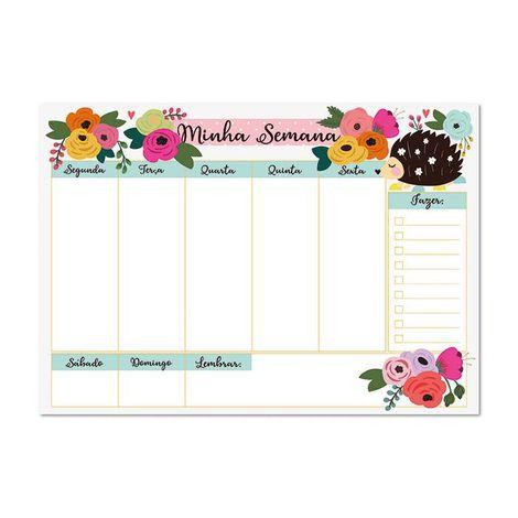 Bloco Planner Semanal Floral