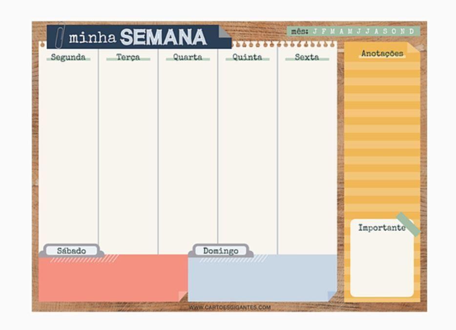 Bloco Planner Semanal Office