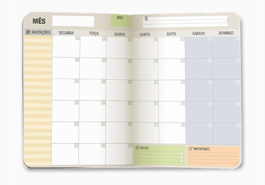 Planner Mensal Branco e Preto