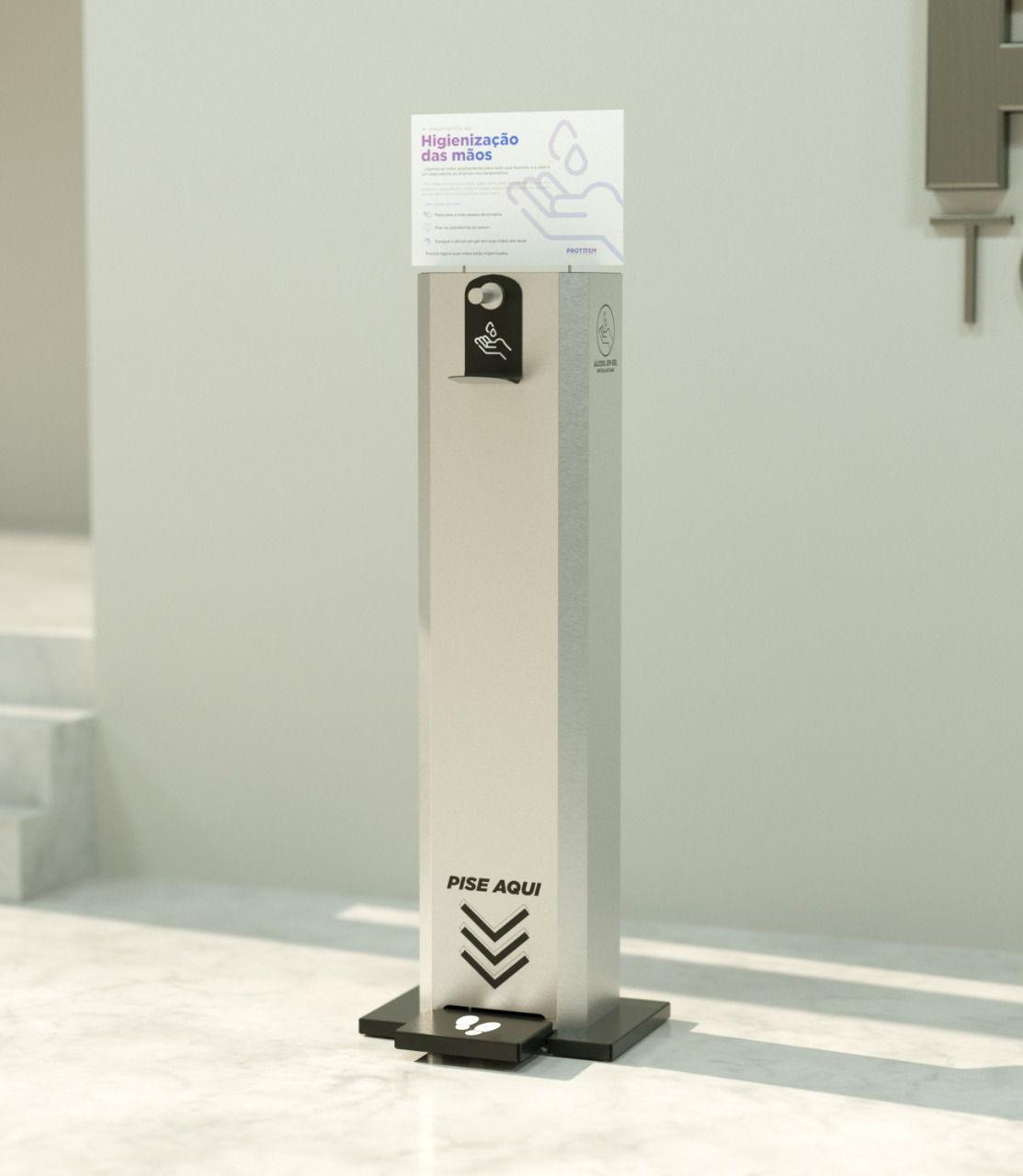 Totem Alcool Gel Profissional INOX- reservatório 6 Litros - Placa Branca  -  Serralheria Digital