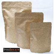 50 Sacos Stand Up Pouch Kraft Com Alumínio Zip 20,5x27,5x10
