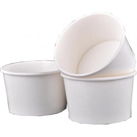 120 Pote De Papel Açai Sorvete 250 Ml Branco Biodegradável