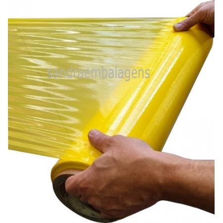 2 Bobinas Filme Stretch 500 X 0,25 Amarelo C/ 3kg Esticável
