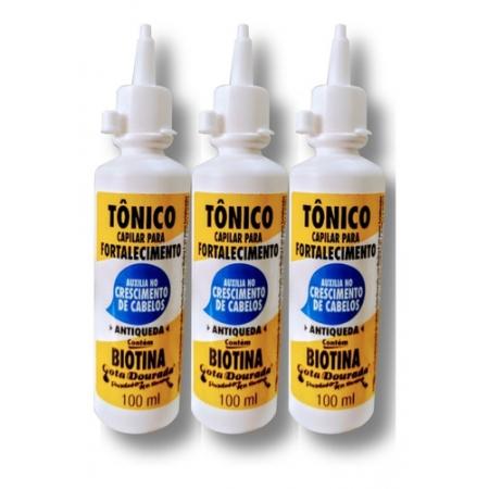 Gota Dourada Kit Tonico Fortalecedor De Cabelos Biotina - 3 unid.