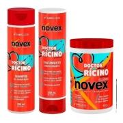 Kit Novex Doctor Rícino Shampoo+ Condicionador + Mascara de Tratamento 1kg