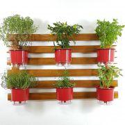 Horta Vertical Imbuia 60x100cm com 6 suportes e 6 Vasos Auto Irrigáveis Vermelhos