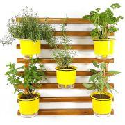 Horta Vertical Mini Imbuía 60x60cm com 5 suportes e 5 Vasos Auto Irrigáveis Amarelo