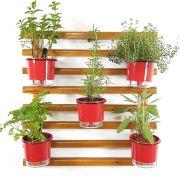 Horta Vertical Mini Imbuía 60x60cm com 5 suportes e 5 Vasos Auto Irrigáveis Vermelho