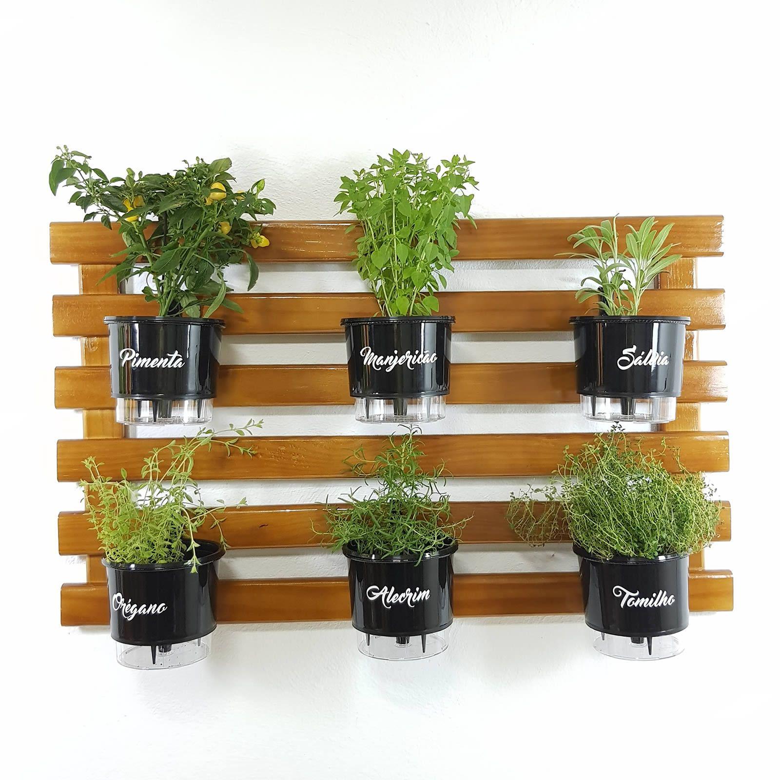 Horta Vertical Imbuia 60x100cm com 6 suportes e 6 Vasos Auto Irrigáveis Gourmet Pretos