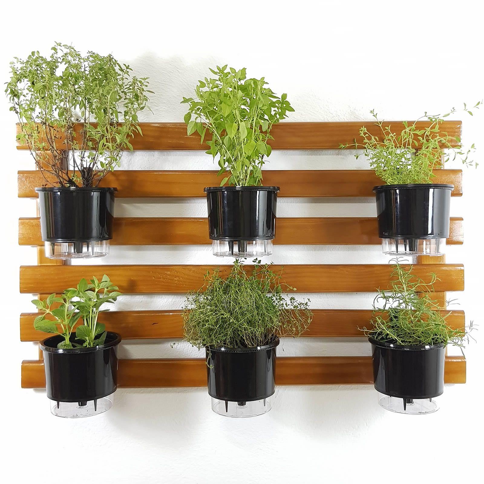 Horta Vertical Imbuia 60x100cm com 6 suportes e 6 Vasos Auto Irrigáveis Pretos