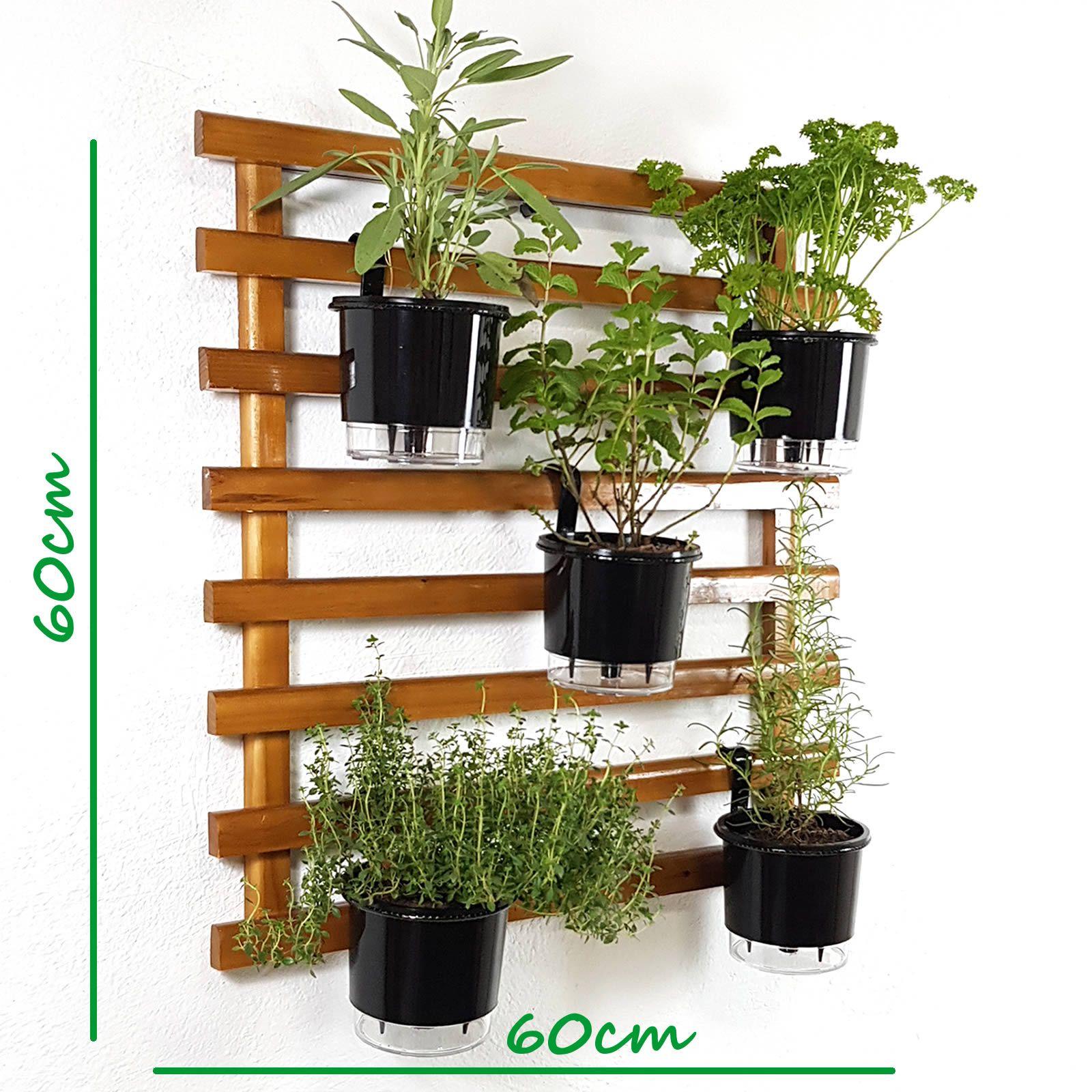 Horta Vertical Mini Imbuía 60x60cm com 5 suportes e 5 Vasos Auto Irrigáveis Preto