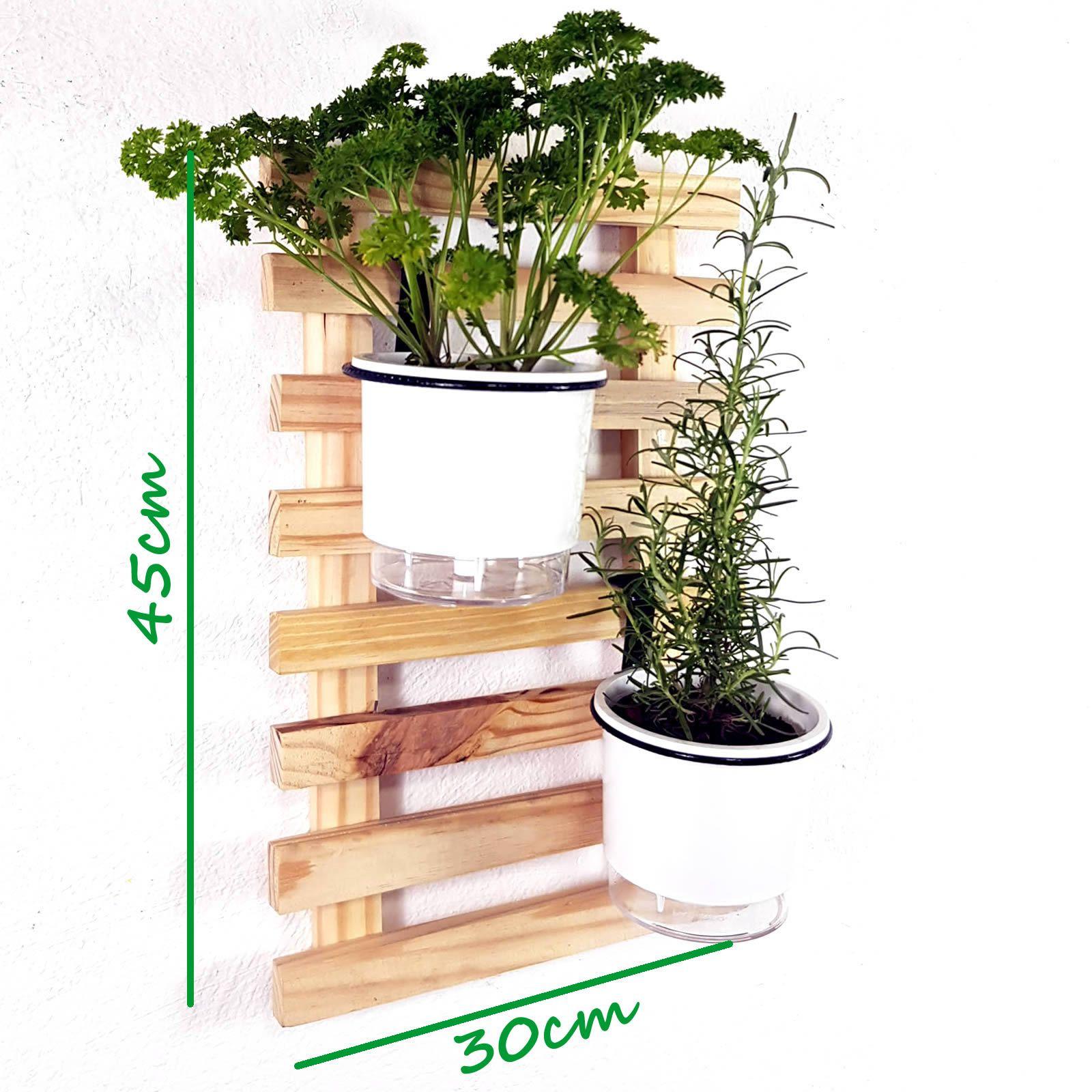 Horta Vertical Natural 45x30cm Minizinha com 2 suportes e 2 Vasos Auto Irrigáveis Brancos