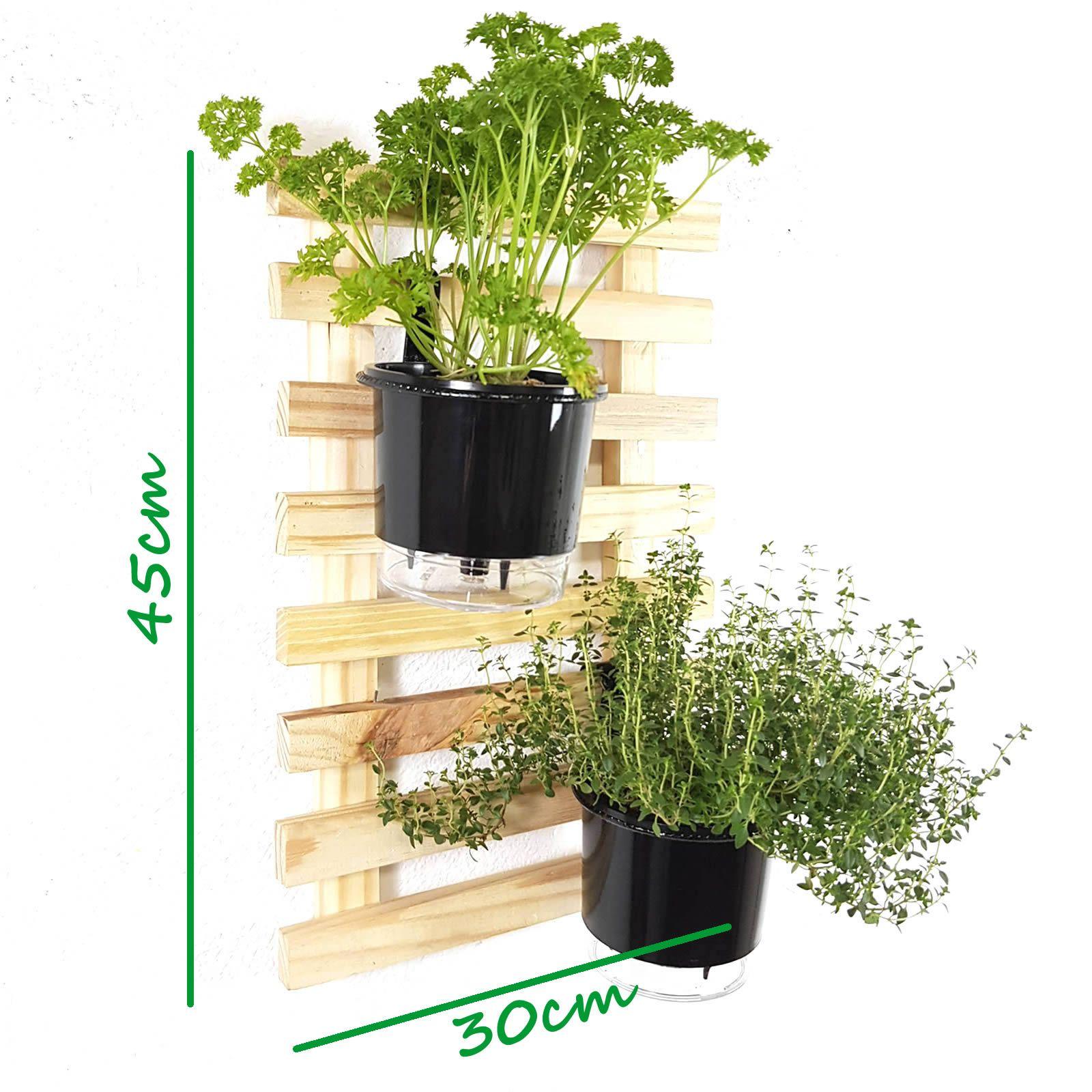 Horta Vertical Natural 45x30cm Minizinha com 2 suportes e 2 Vasos Auto Irrigáveis Pretos