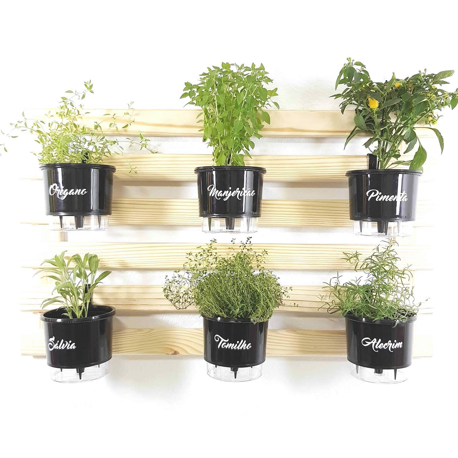 Horta Vertical Natural 60x100cm com 6 suportes e 6 Vasos Auto Irrigáveis Gourmet Pretos