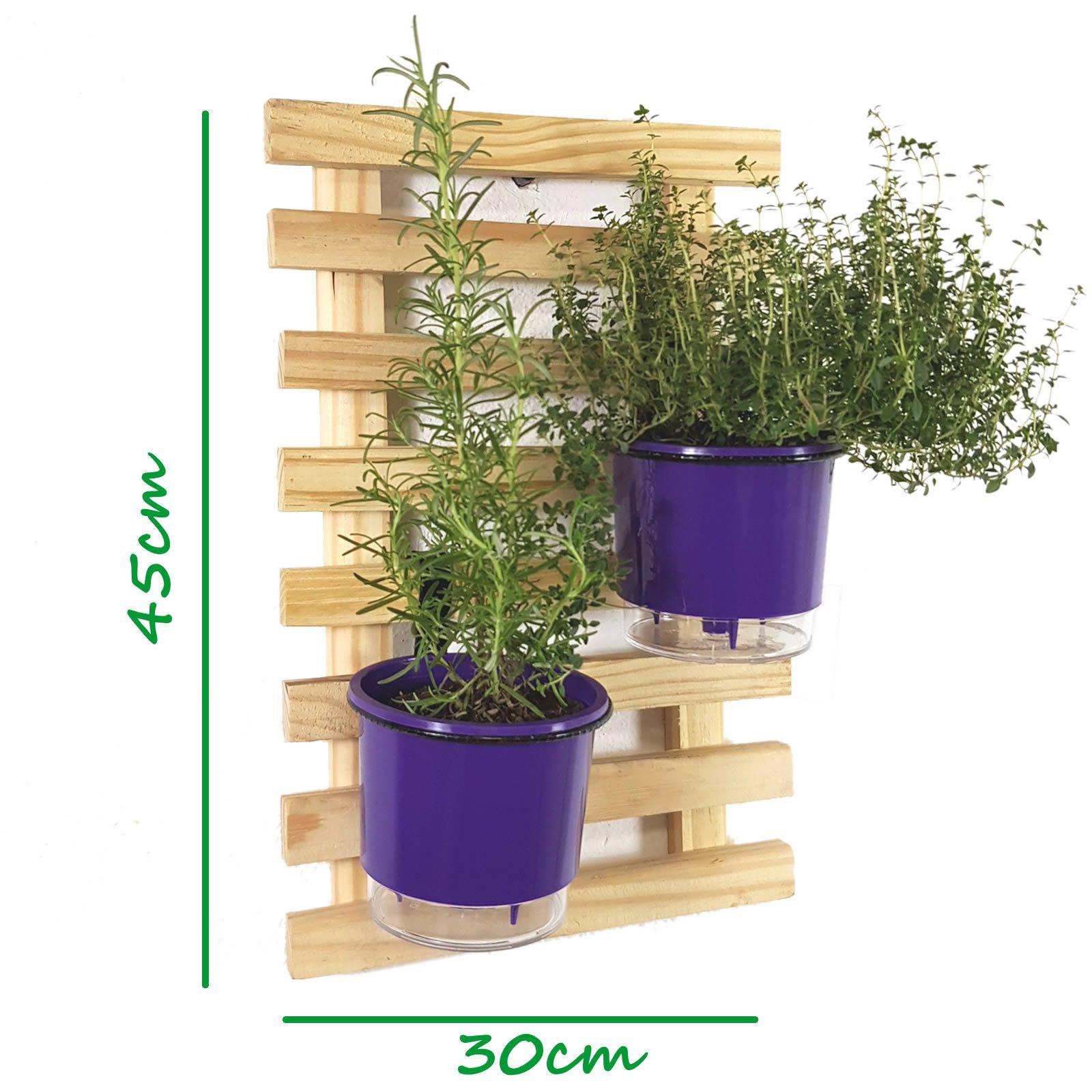 Treliça Minizinha 45x30cm Natural + 2 Suportes + 2 Vasos Raiz Pequenos N2 - Roxo