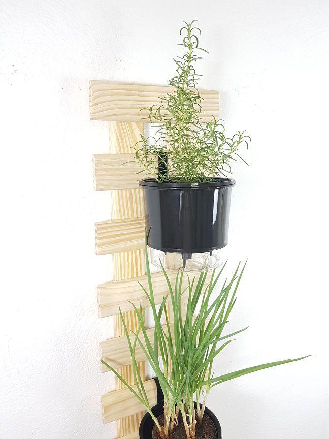 Treliça Vertical 80x25cm Natural + 2 Suportes + 2 Vasos Raiz Médios N3 - Preto