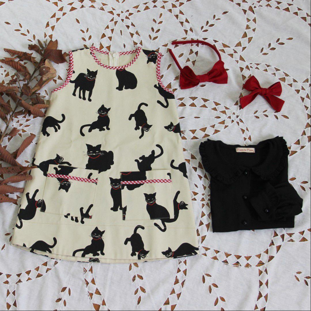 Vestido tubinho de gatos