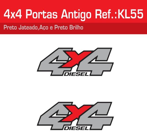 Adesivo 4x4 Portas Cinza Jateado Aço - KL55