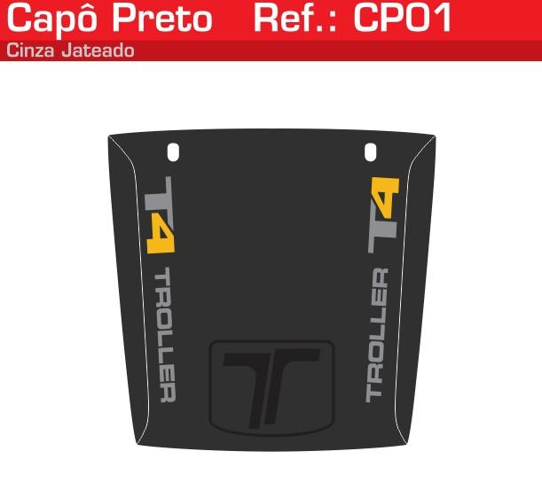 Adesivo Capô T4 Preto Jateado Amarelo - CP01-AMARELO