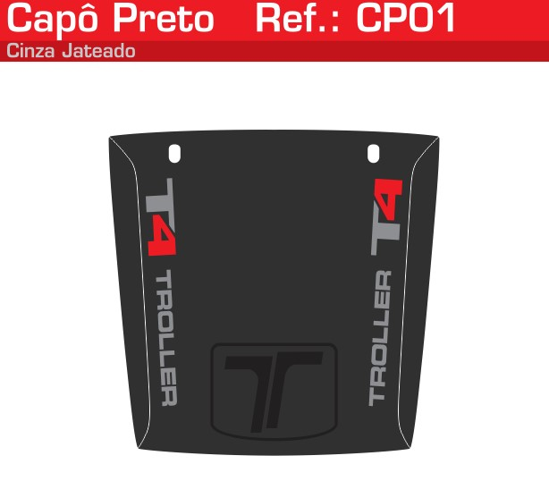 Adesivo Capô T4 Preto Jateado Vermelho - CP01-VERMELHO