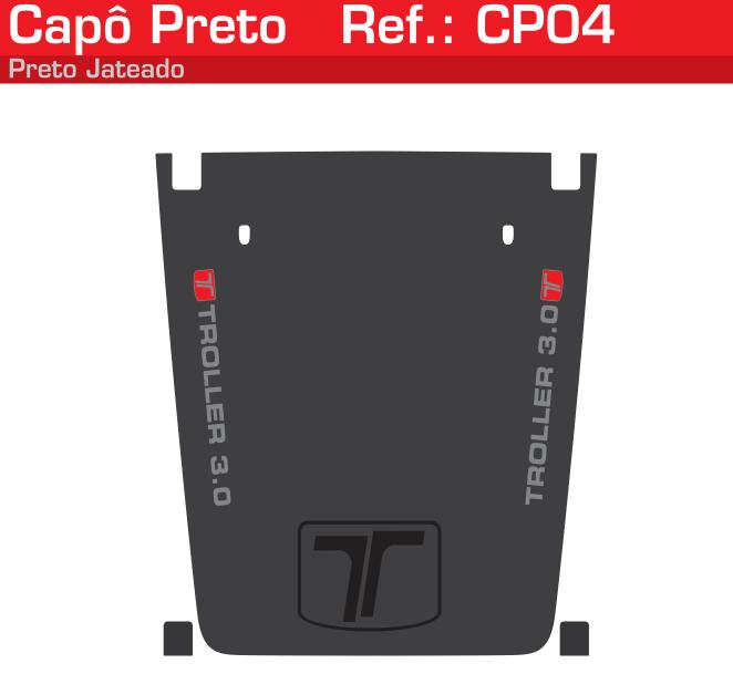 Adesivo Capô Troller 3.0 Cinza Jateado Detalhe Vermelho - CP04-VERMELHO