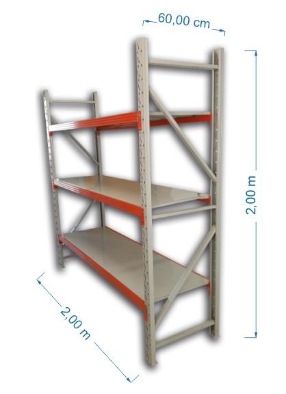 Prateleira Metálica 200x60x200cm 3 Níveis 300Kgs - TREK-PM3N